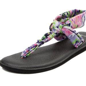Sanuk Ella Geo Sling Yoga Mat Sandals Pastel Print